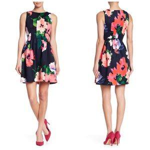VINCE CAMUTO Floral Print Fit and Flare Dress 6